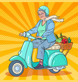 pop art senior woman riding scooter lady biker vector image vector image