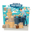 postman sorting mail and parcels at post office vector image