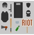 Riot objects vector image vector image