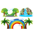 scenes with road and waterfall vector image