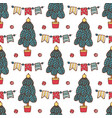 seamless christmas pattern with santa clause deer vector image vector image