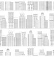 Seamless pattern of line skyscrapers Black and