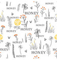 seamless pattern with bees and flowers hand drawn vector image