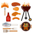 set barbecue grill icons vector image