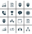 set of 16 management icons includes wallet tree vector image vector image