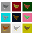 set of in flat style hen vector image vector image