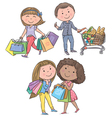 Shopping kids vector image vector image