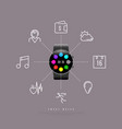 smart watch with circle display and icons vector image