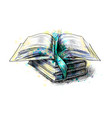 stack of multi colored books vector image vector image