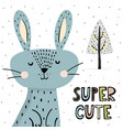 super cute print with funny bunny vector image