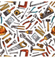 tools seamless pattern hammer screwdriver saw vector image vector image