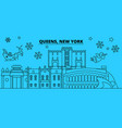 united states queens winter holidays skyline vector image vector image