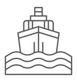 yacht boat trip thin line icon journey and cruise vector image vector image
