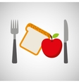 food fresh apple bread fork and knife vector image