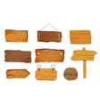 wooden signs boards set with different shapes vector image