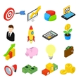 Business isometric icons set vector image