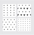 set with hand drawn seamless patterns in black and vector image