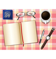 A topview of a table with things vector image vector image