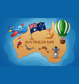 australia map in the background of the ocean with vector image vector image