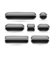 black glass buttons with chrome frame 3d icons vector image vector image