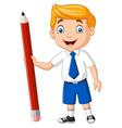 cartoon school boy holding a pencil vector image