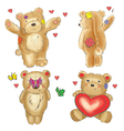 Collection of valentine teddy bears vector image vector image