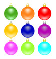 colorful christmas balls set isolated on white vector image