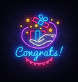 congrats neon signboard gift neon sign vector image vector image
