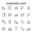 construction icons set in thin line style vector image vector image