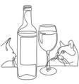 continuous line drawing bottle and glass wine vector image