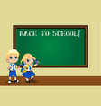 cute cartoon schoolgirl and schoolboy in uniform vector image