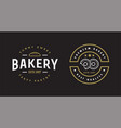 double set of bakery pastry elements shop sign vector image vector image