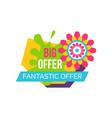 fantastic offer springtime label abstract flower vector image