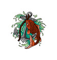 fish twisted to an anchor of a boat vector image vector image