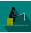Fisherman sitting on pier with rod flat icon vector image