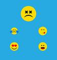 flat icon emoji set of cold sweat love cross vector image vector image