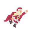flying santa claus in a superhero cape vector image