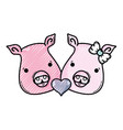 grated cute pig couple animal lover vector image vector image