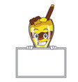 grinning with board mangonada fruit character vector image vector image