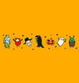 halloween horizontal banner with funny monsters vector image vector image