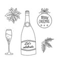 hand drawn line art party icons set vector image
