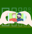 hand holding smart phone taking selfie photo of vector image vector image