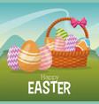 happy easter card basket egg ornament landscape vector image vector image