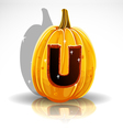 Happy Halloween font cut out pumpkin letter U vector image