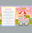 hot dog poster and text sample vector image vector image
