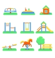 kids playground set icons with swings vector image