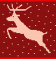 knitted christmas jumping forward reindeer vector image vector image