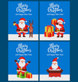 merry christmas happy new year poster with santa vector image vector image