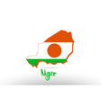 niger country flag inside map contour design icon vector image vector image