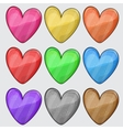 Nine matted color heart web buttons on white vector image